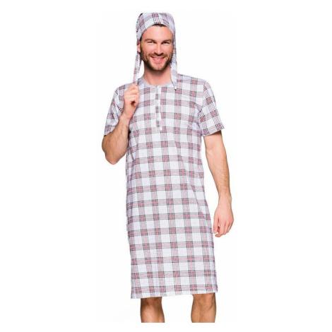 Pánska nočná košeľa IX šedá, káro Taro