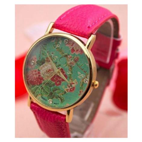Dámske kvetované hodinky - ružové