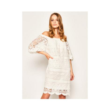 Luisa Spagnoli Letné šaty Pellicano 536857 Biela Regular Fit