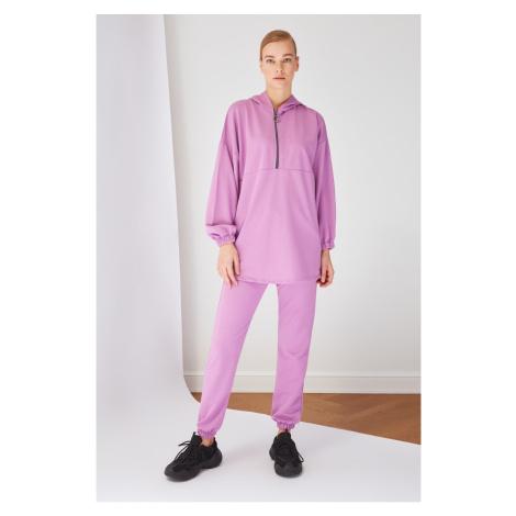 Trendyol Lila Zipper Detailed Knitted Tracksuit Set