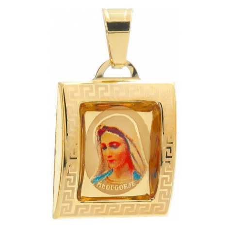 Medailón Panny Márie Medžugorskej zo žltého zlata