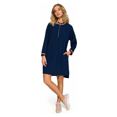 Made Of Emotion Woman's Dress M402 Navy Blue