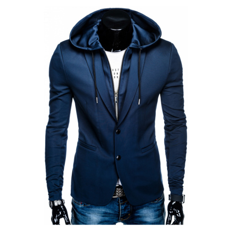 Ombre Clothing Men's casual hooded blazer jacket M99 navy blue