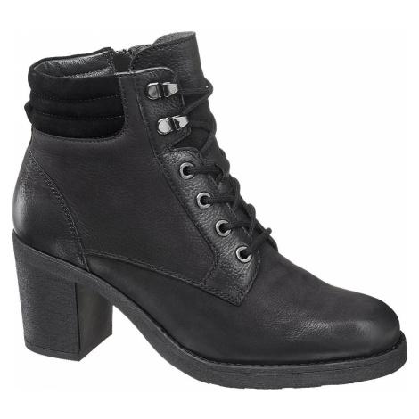 5th Avenue - Čierna kožená šnurovacia obuv so zipsom 5th Avenue