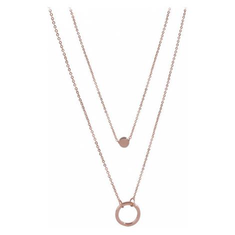 Troli Dvojitý náhrdelník s krúžkovými prívesky z ružovo pozlátenej ocele TO2154