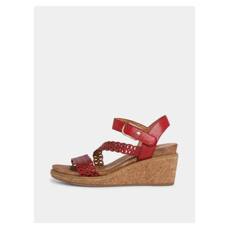 Tamaris červené kožené topánky na kline
