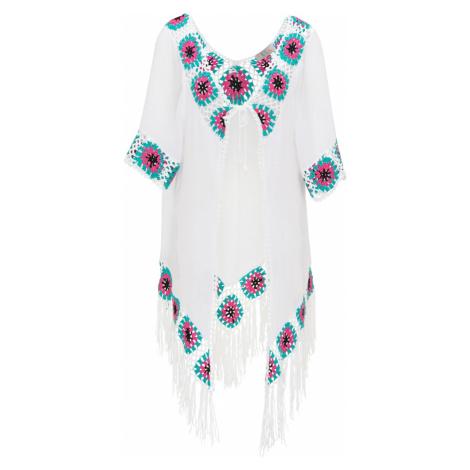 IZIA Kimono  biela / tyrkysová / ružová / čierna