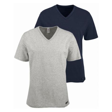 H.I.S Tričko  námornícka modrá / sivá melírovaná