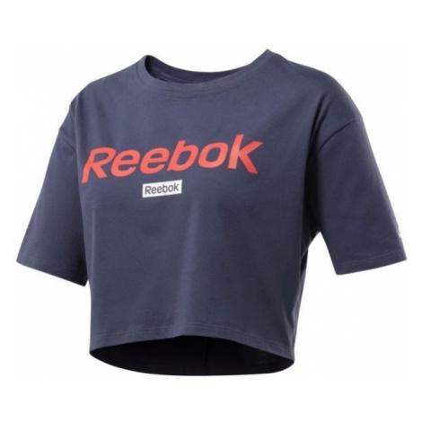 Reebok LINEAR LOGO CROP TEE tmavo modrá - Dámske tričko