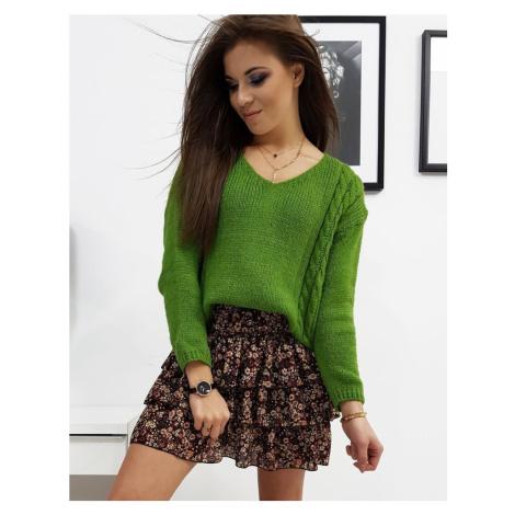 Dámsky moderný zelený sveter my0706