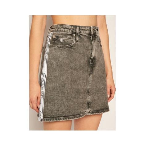 Calvin Klein Jeans Džínsová sukňa Logo J20J215121 Sivá Slim Fit