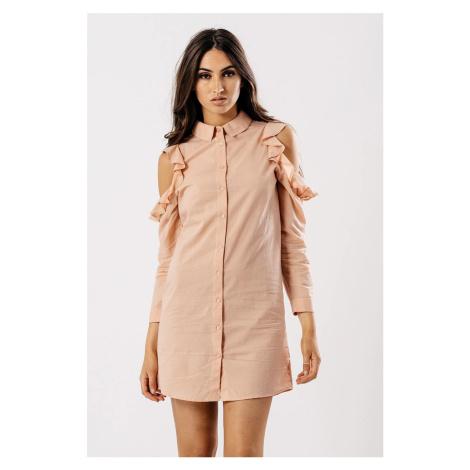 Košelové letné mini šaty s odhalenými ramenami