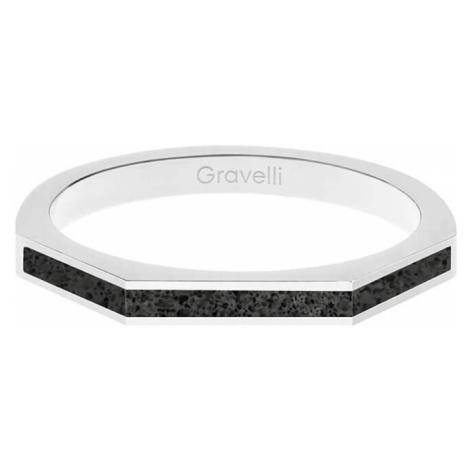 Gravelli Oceľový prsteň s betónom Three Side oceľová / antracitová GJRWSSA123 mm