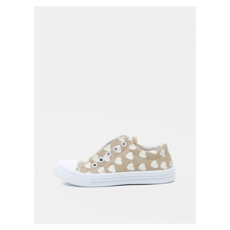 Beige Girl Patterned Sneakers 3F