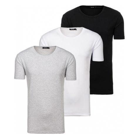 Farebné pánske tričko bez potlače BOLF 798081-3P 3 KS JUSTPLAY