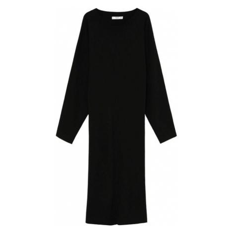 MANGO Pletené šaty 'Skins'  čierna