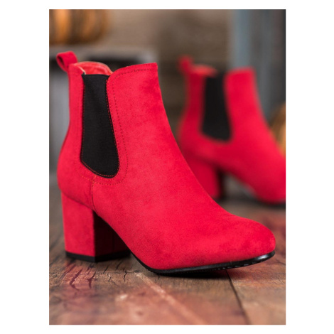 BESTELLE Sliding BOOTIES ON THE POST shades of red