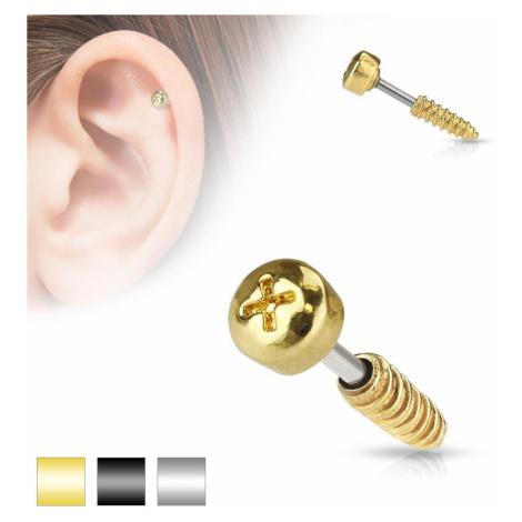 Oceľový piercing do tragusu ucha - imitácia skrutky, rôzne farby - Farba piercing: Zlatá