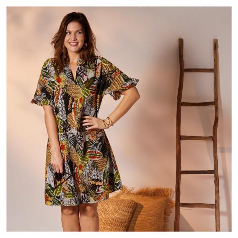 Blancheporte Košeľové volánové šaty s pestrofarebnou potlačou čierna/papriková