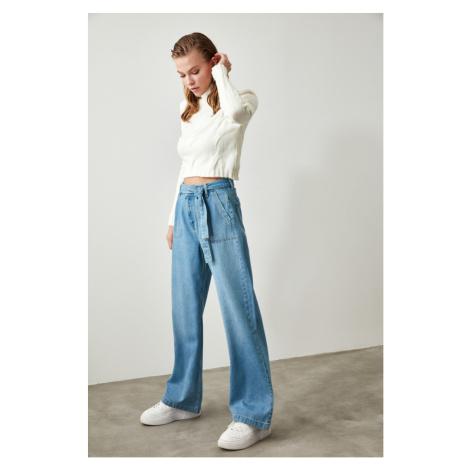 Trendyol Indigo Belted Pocket Detailed Wide Leg Jeans Indigo