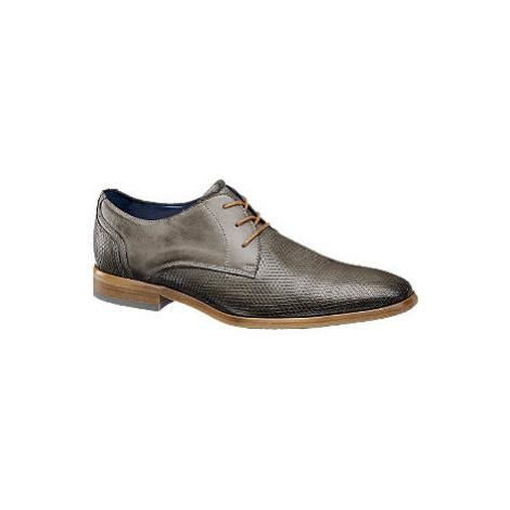 Sivá kožená spoločenská obuv AM SHOE