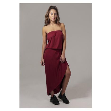 Ladies Viscose Bandeau Dress - burgundy Urban Classics
