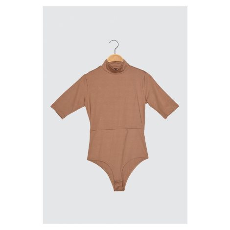 Trendyol Camel Upright Collar Back Cleavage Knitted Body