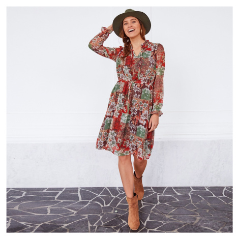 Blancheporte Volánové šaty s kvetmi khaki/béžová