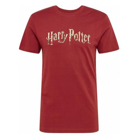 Mister Tee Tričko 'Harry Potter'  vínovo červená / žltá / béžová