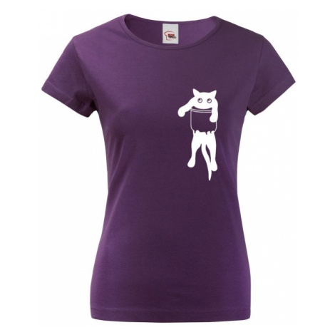 Dámske tričko s mačkou vo vrecku - ideálny darček pre milovníčky mačiek