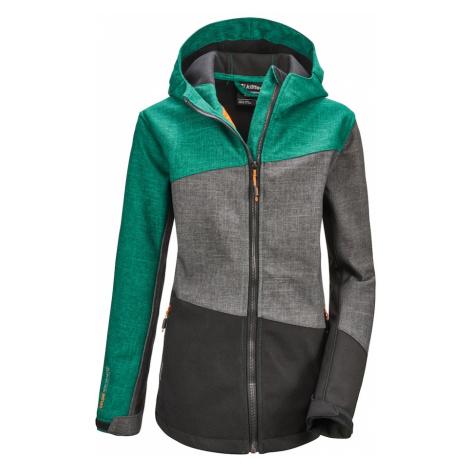KILLTEC Outdoorová bunda 'Lynge'  tmavosivá / smaragdová / sivá