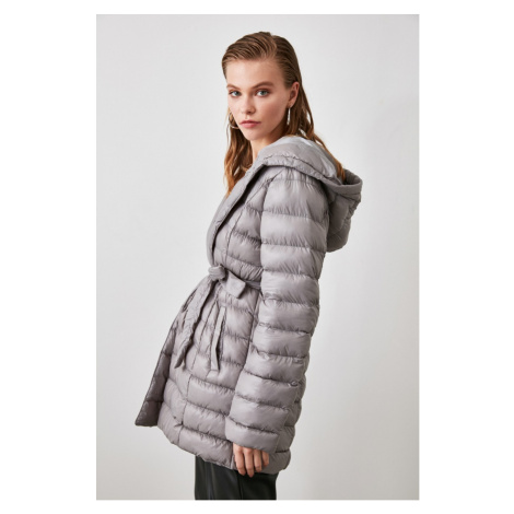 Trendyol Mink Hooded Belted Inflatable Coat