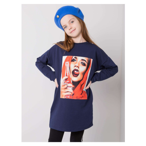Navy blue cotton tunic for a girl