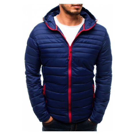 Pánska prechodná modrá bunda s kapucňou tx2718