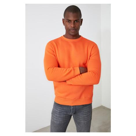 Trendyol Orange Men's Bike Collar Regular Fit Slogan Labeled Sweatshirt