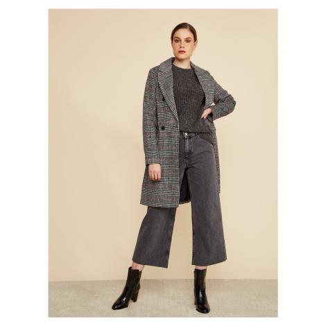 Tmavošedý dámsky kockovaný zimný kabát ZOOT Gabrielle