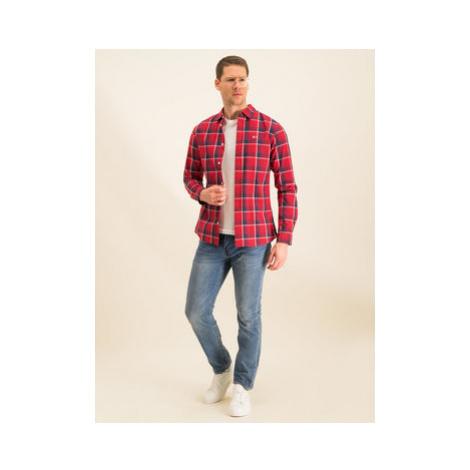 Tommy Jeans Košeľa Tjm Poplin Multi Check DM0DM07502 Červená Regular Fit Tommy Hilfiger