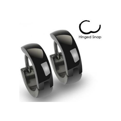 Okrúhle oceľové náušnice s lesklou čiernou farbou, zaoblený povrch