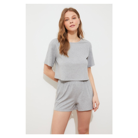 Trendyol Gray Camisole Knitted Pajamas Set