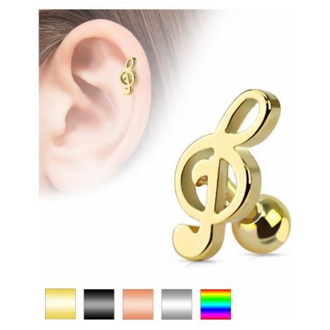 Piercing do ucha z chirurgickej ocele - husľový kľúč, rôzne farebné prevedenie - Farba piercing: