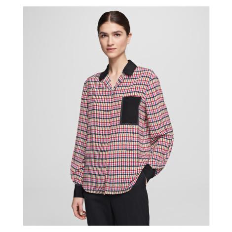 Košeľa Karl Lagerfeld Boucle Print Silk Blouse