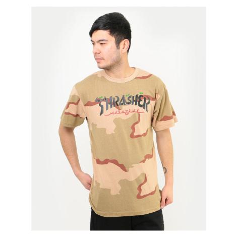 Pánske tričko THRASHER Calligraphy Desert Camo Farba: maskáčová