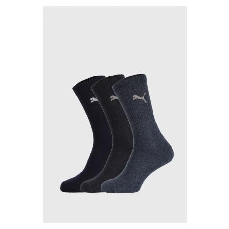 3 PACK tmavo modrých ponožiek Puma Sport