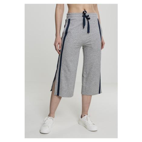 Dámske teplákové nohavice URBAN CLASSICS Ladies Taped Terry Culotte grey/navy
