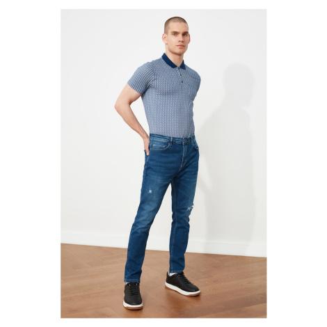 Trendyol Indigo Men's Ripped Detailed Regular Waist Carrot Fit Jeans