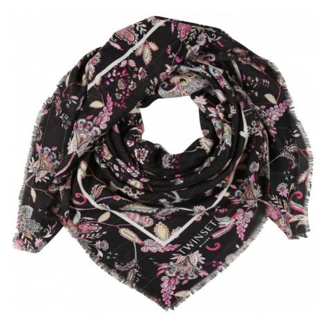 Twinset Šál  čierna / ružová / svetložltá / biela / svetlomodrá