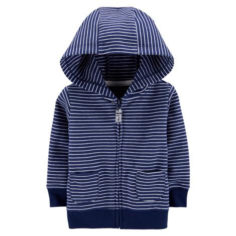 CARTER'S Mikina na zips s kapucňou Strips Blue chlapec 6 m/vel. 68