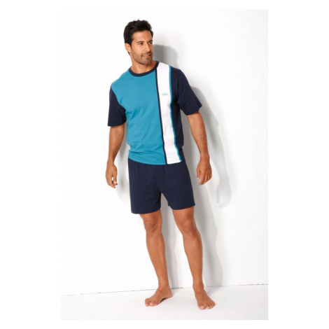 H.I.S Krátke pyžamo  biela / námornícka modrá / tyrkysová