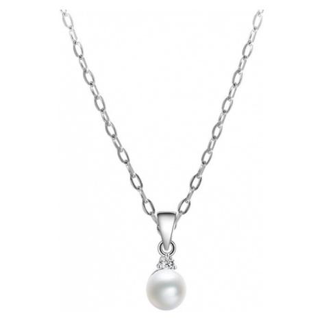 Beneto Strieborný náhrdelník s pravou perlou AGS906 / (retiazka, prívesok)