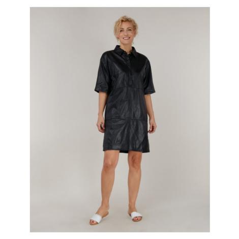 Dámske čierne kožené šaty s límcom KARA